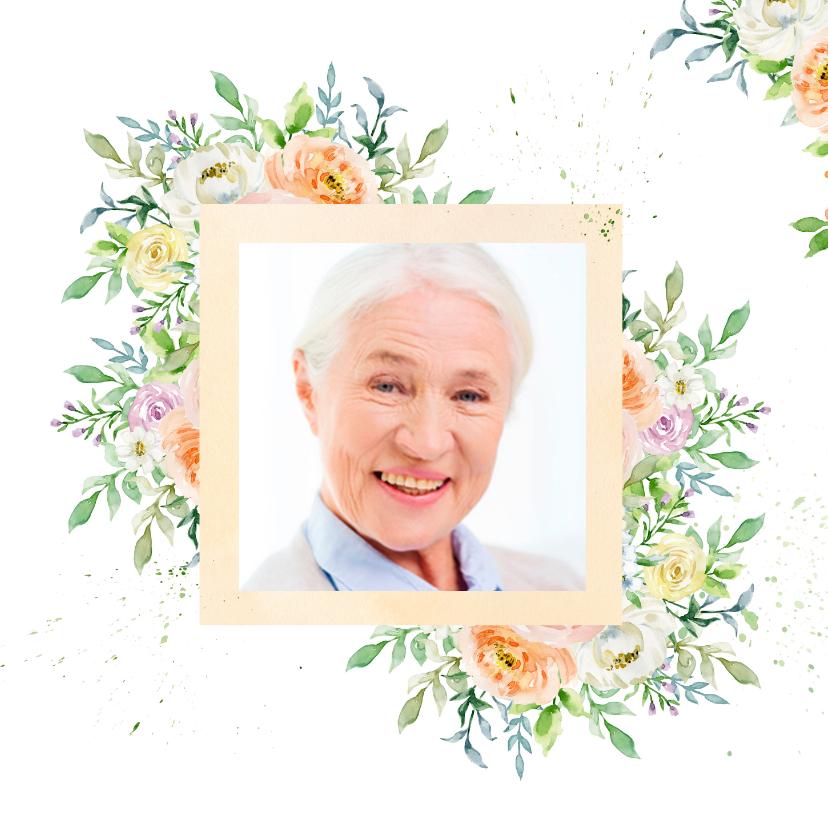 Uitnodiging rozen in pastel met foto 2