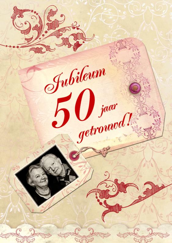 Uitnodiging scrapbook jubileum jaartal aan te passen