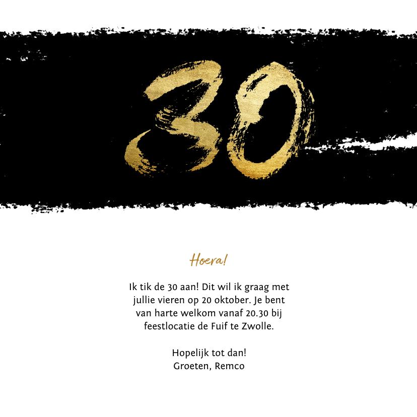 Uitnodiging stoer met zwarte inkt 30 3
