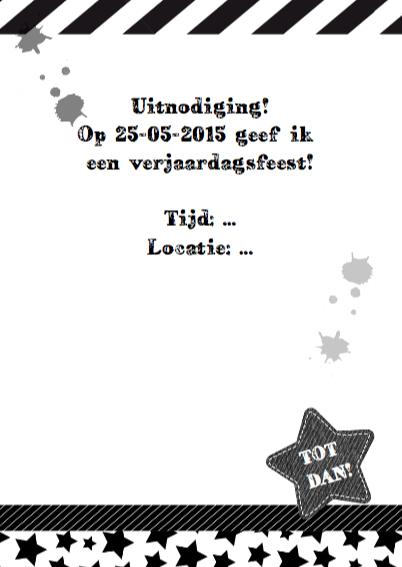 Uitnodiging stoer zwart wit foto 3