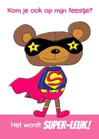 Kinderfeestjes - Uitnodiging superbeer roze-HR