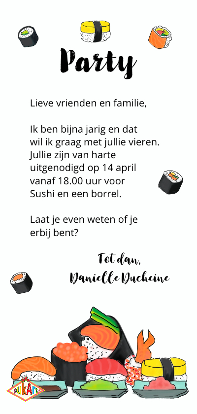 Uitnodiging Sushi Party PA achterkant