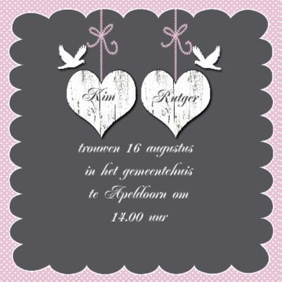 Uitnodiging trouwen witte harten 2