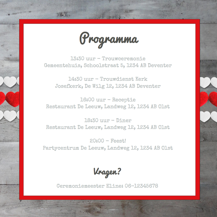 Uitnodiging trouwkaart Hartjes  2