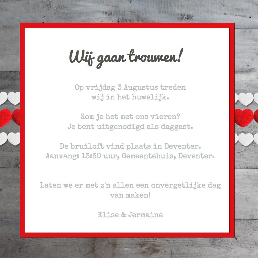 Uitnodiging trouwkaart Hartjes  3
