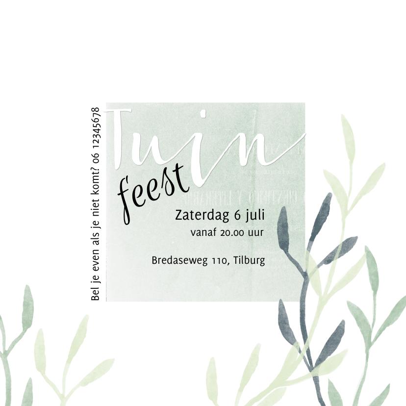 Uitnodiging tuinfeest met foto en plantjes 3