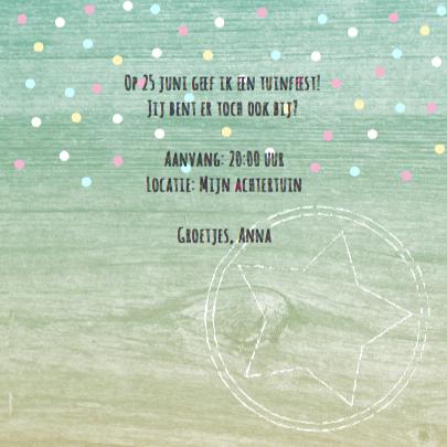 Uitnodiging tuinfeest slingers confetti foto 3