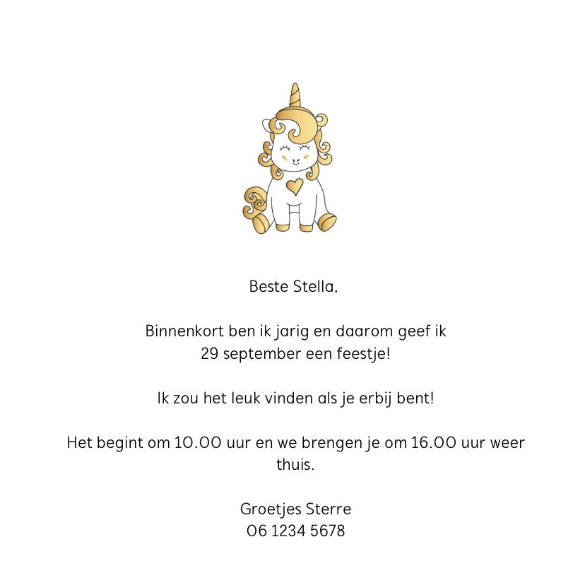 Uitnodiging Unicorn Goud 3