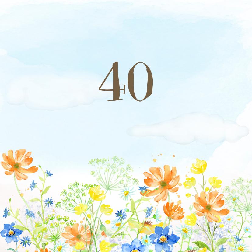 Uitnodiging veldbloemen met vlinder 2