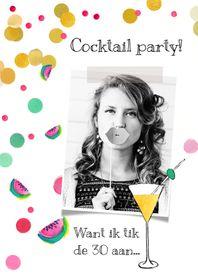 Uitnodigingen - Uitnodiging verjaardag cocktail meloen