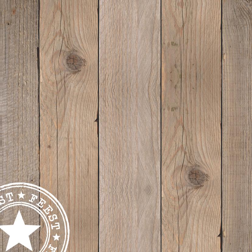Uitnodiging verjaardag foto houtprint 2