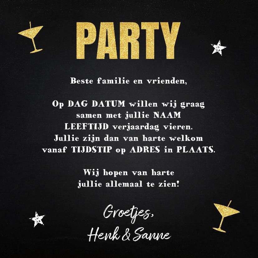 Uitnodiging verjaardag fotocollage krijtbord sterren 3