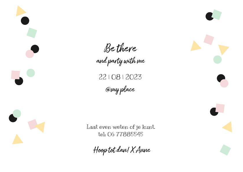Uitnodiging verjaardag hip feestelijk eenvoudig 3