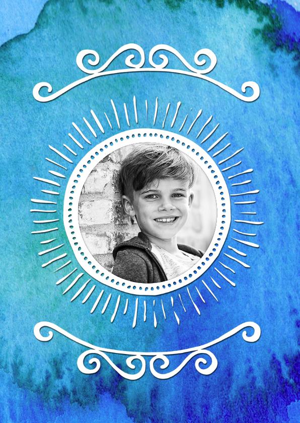 Uitnodiging verjaardag inkt blauw - OT 2
