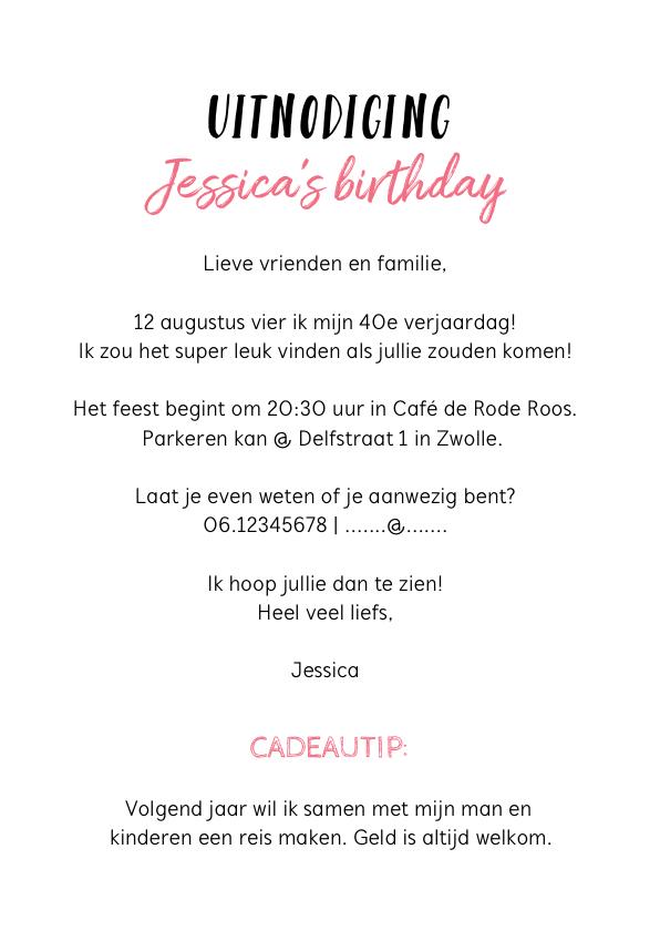 Uitnodiging verjaardag roze met waterverf, bloem en foto 3