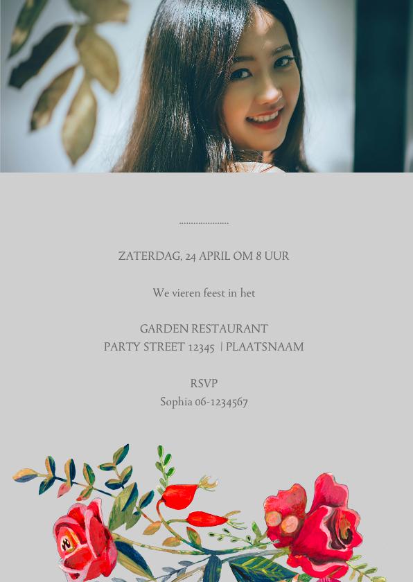 Uitnodiging verjaardag secret rose garden 3