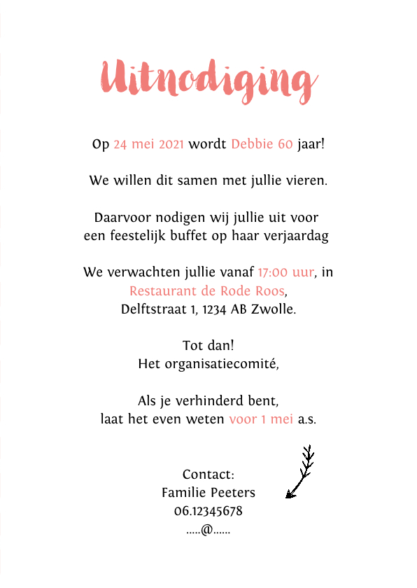 Uitnodiging verjaardag vrouw hip met bloemen en label 3