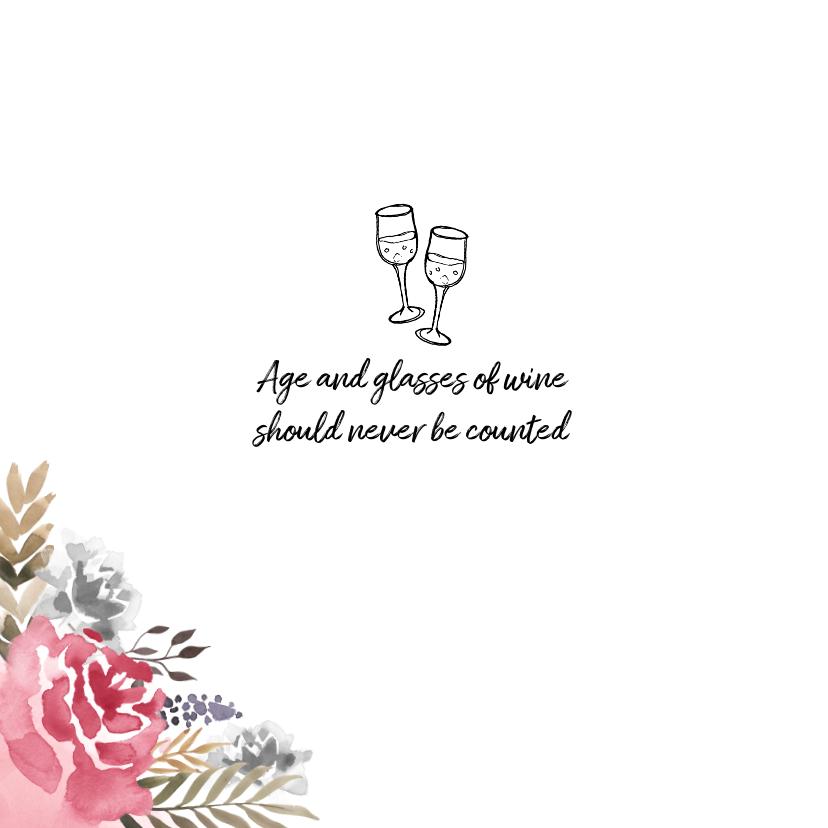 Uitnodiging verjaardag  vrouw hip met geschilderde bloemen 2
