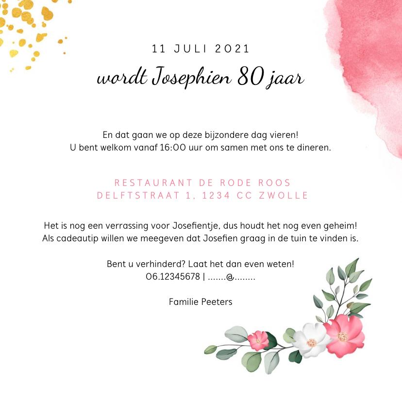 Uitnodiging verjaardag vrouw met waterverf, bloemen en foto 3