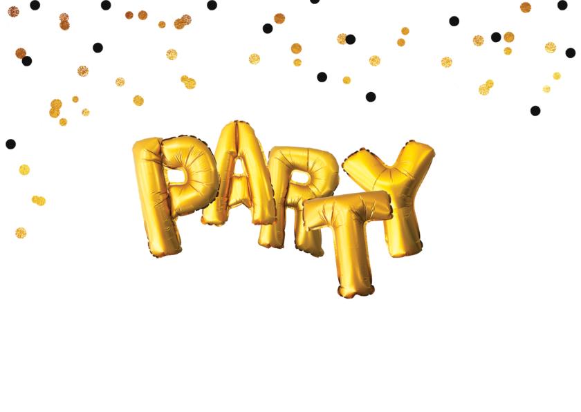 Uitnodiging verjaardagsfeest samen jarig Party goud confetti 2