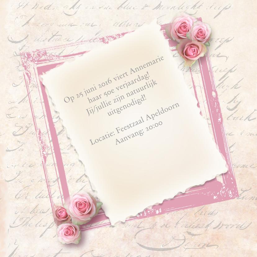 Uitnodiging verjaardagsfeest vrouw foto rozen  3