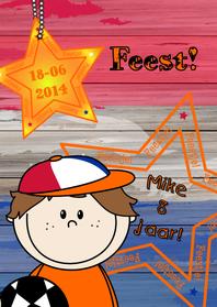 Kinderfeestjes - Uitnodiging voetbal oranje
