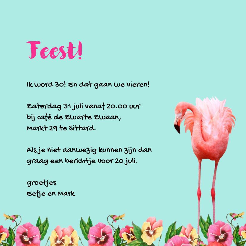 Uitnodiging voor een feestje, hip met flamingo's 3