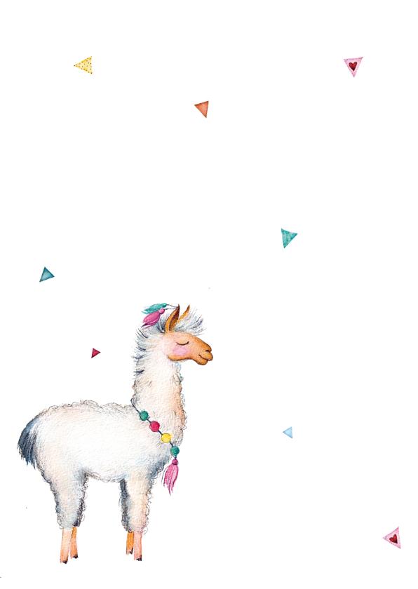 Uitnodiging: voor een kinderfeestje met lama 2