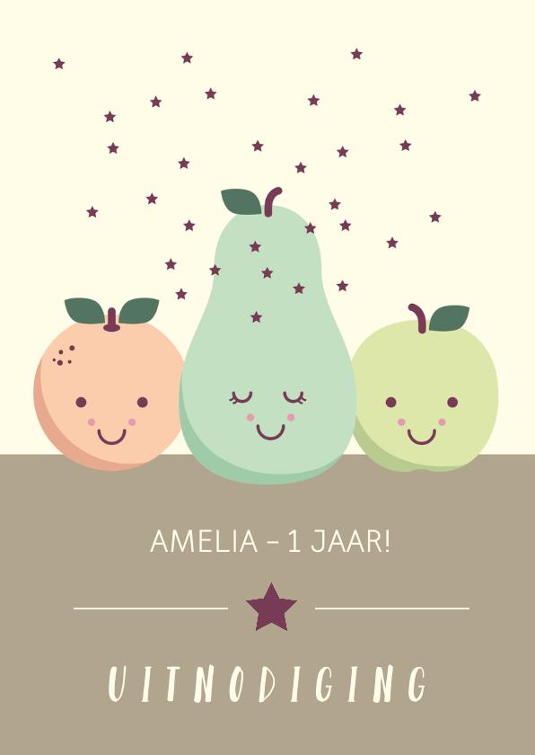 Uitnodiging voor een kinderfeestje met lief fruit met oogjes 2