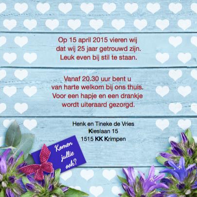 Uitnodiging voor jubileum  met bloemen en vlinder 3
