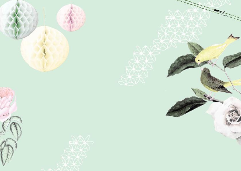 Uitnodiging voor jubileumfeest met vogels en rozen 2