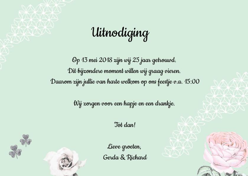 Uitnodiging voor jubileumfeest met vogels en rozen 3