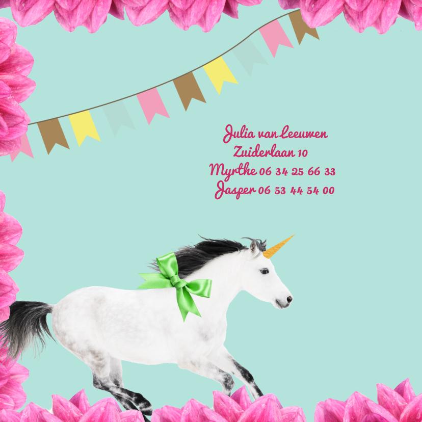 Uitnodiging voor kinderfeestje met eenhoorn en bloemen 2