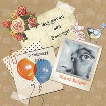 Uitnodigingen - Uitnodiging wij geven een feest vintage