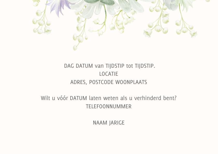 Uitnodiging witte bloemen 80 jaar 3