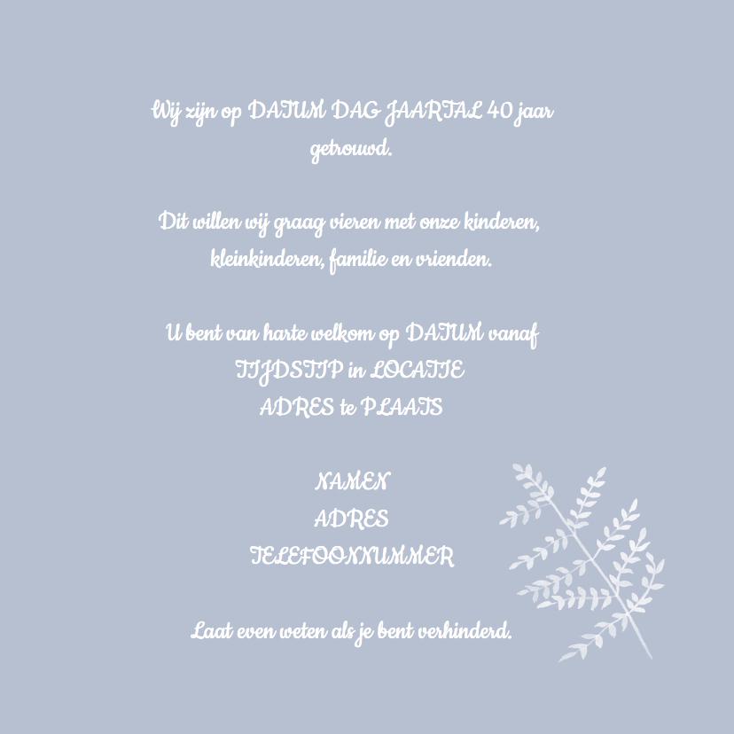 Uitnodigingen 40 jaar lavendelblauw 3
