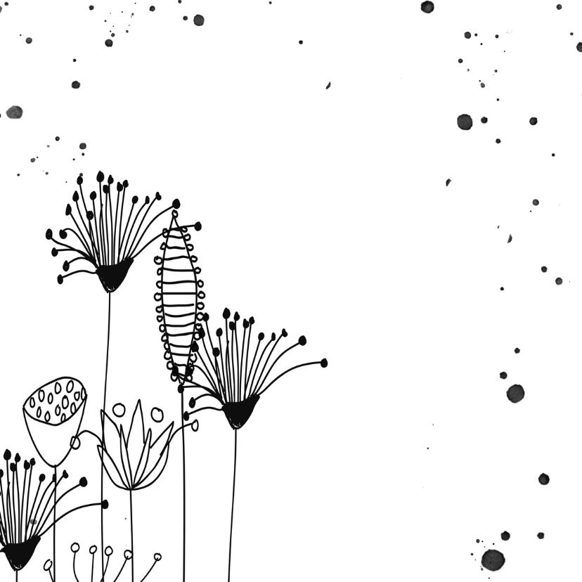 Uitnodigingen doodles zwart wit en verfspetters 2
