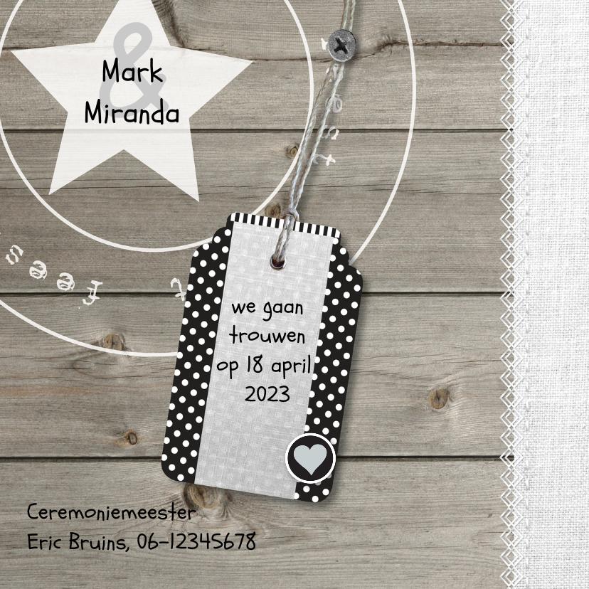 Unieke foto trouwkaart hout met linnen print 2