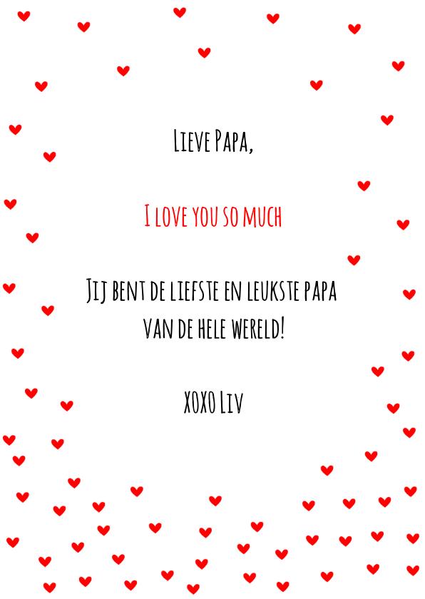 Vaderdag kaart hartjes rood I love you 3