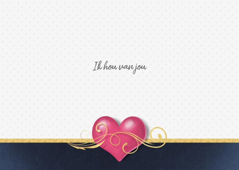 Valentijnskaart be my valentine roze hart 3