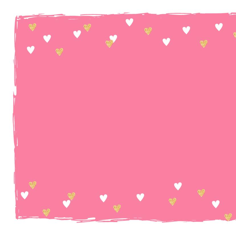 Valentijnskaart hip hartjes goud roze 2