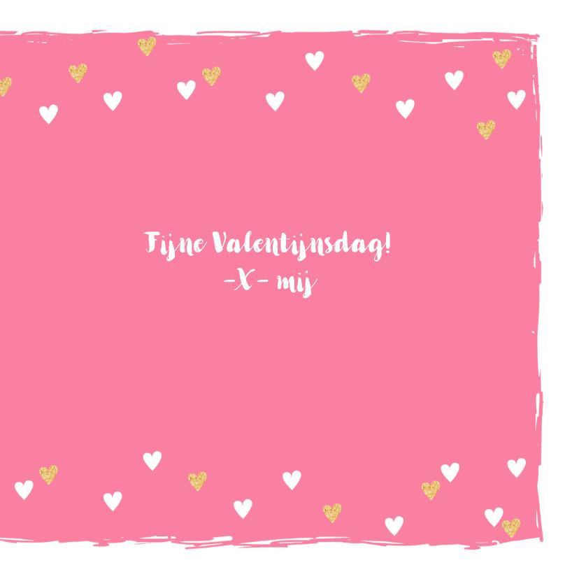 Valentijnskaart hip hartjes goud roze 3