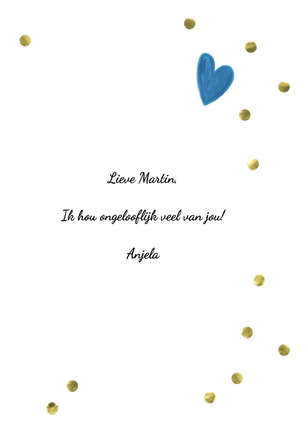 Valentijnskaart Ik hou van jou gouden confetti 3