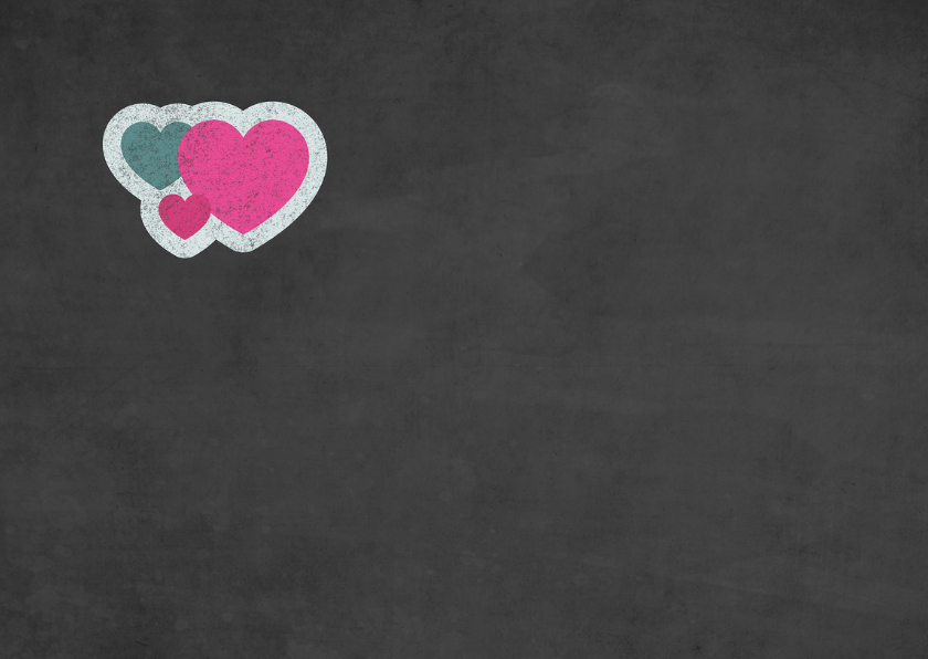 Valentijnskaart met wolk van hartjes op krijtbord 2