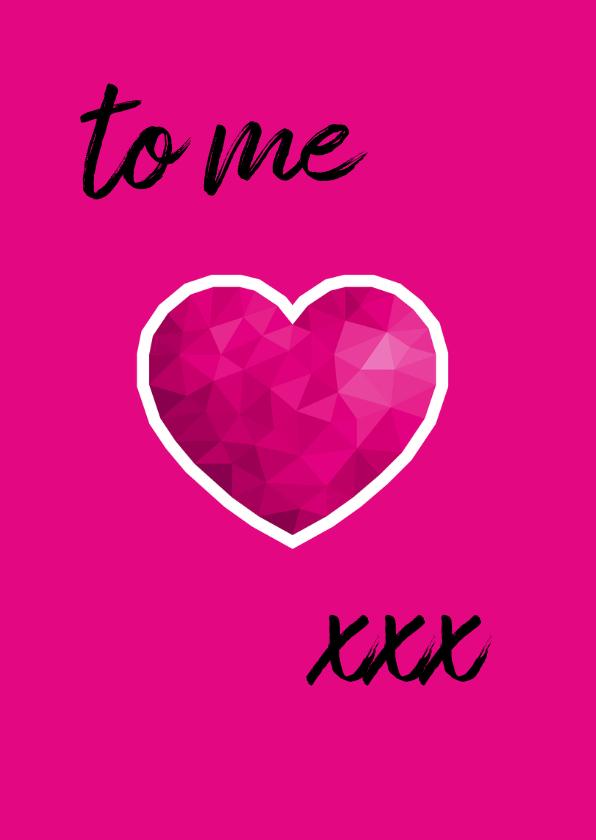 Valentijnskaart voor vrouw met roze low poly hart 3