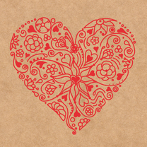 Valentijnskaarten - Valentine-Hart met bloemen-HK