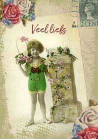 Zomaar kaarten - Veel liefs vintage meisje
