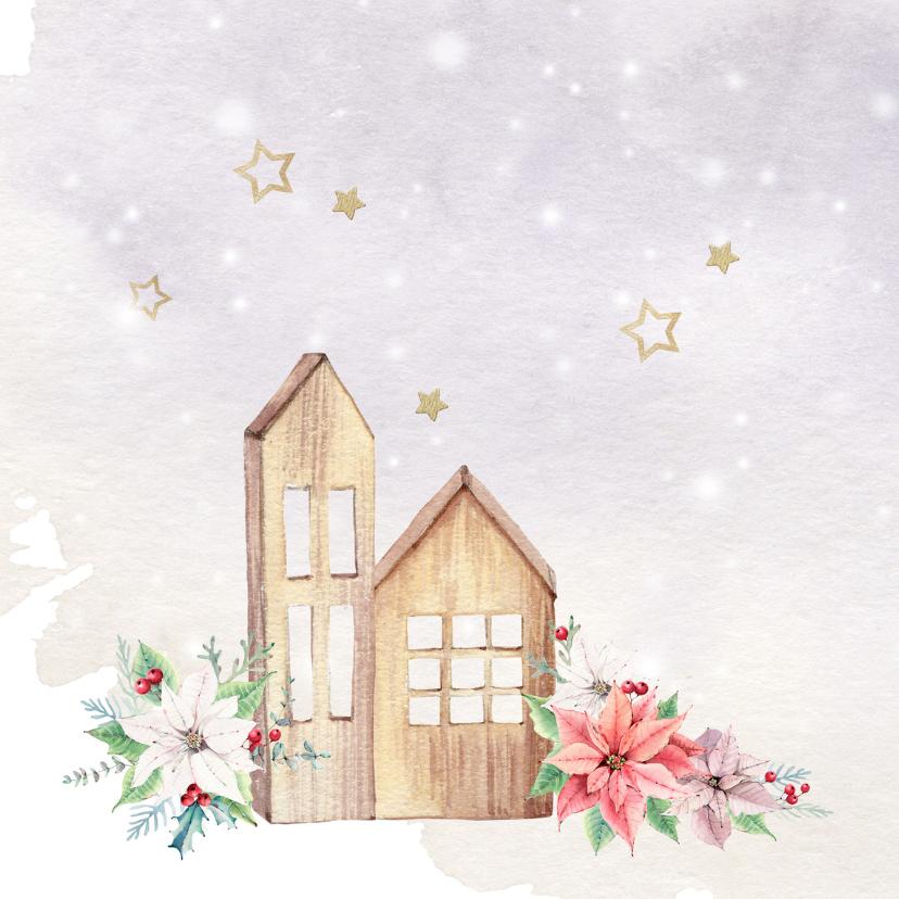 Verhuis- kerstkaart met kerstrozen 2