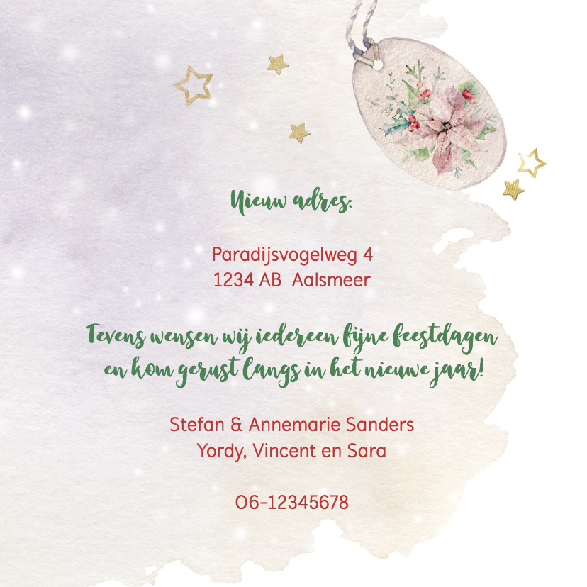 Verhuis- kerstkaart met kerstrozen 3
