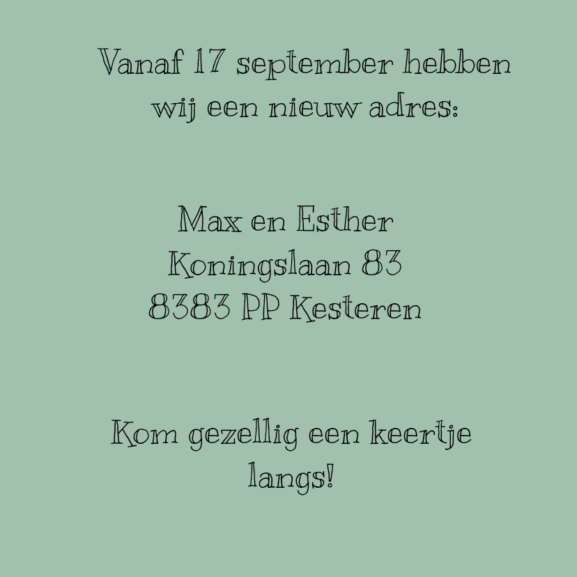 Verhuiskaart Adres 3